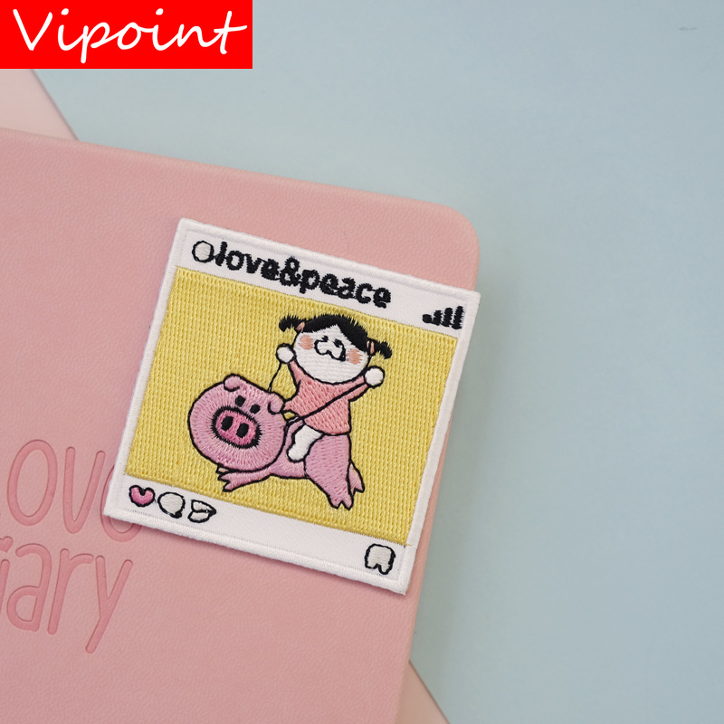 VIPOINT self adhesion embroidery pig patch animal cartoon patches badges applique patches for clothing LX 24 in Patches from Home Garden