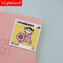 VIPOINT self-adhesion embroidery pig patch animal cartoon patches badges applique for clothing LX-24