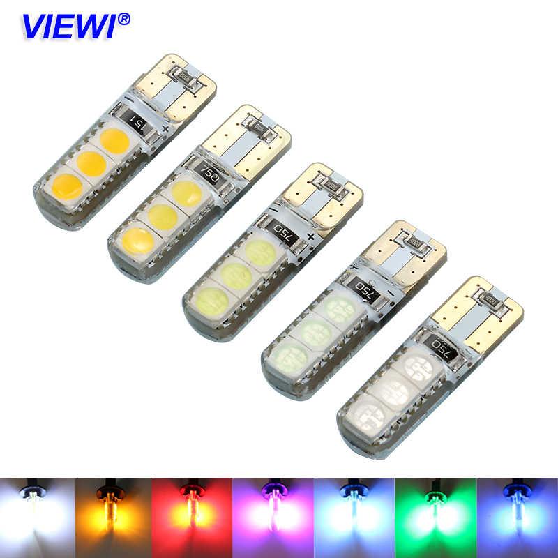 1 חתיכה t10 w5w 12 v 24 v led פנים רכב משאית אורות 5050 6 נוריות 1 w IP68 סיליקון אוטומטי אות מנורת צהוב לבן אדום כחול ירוק