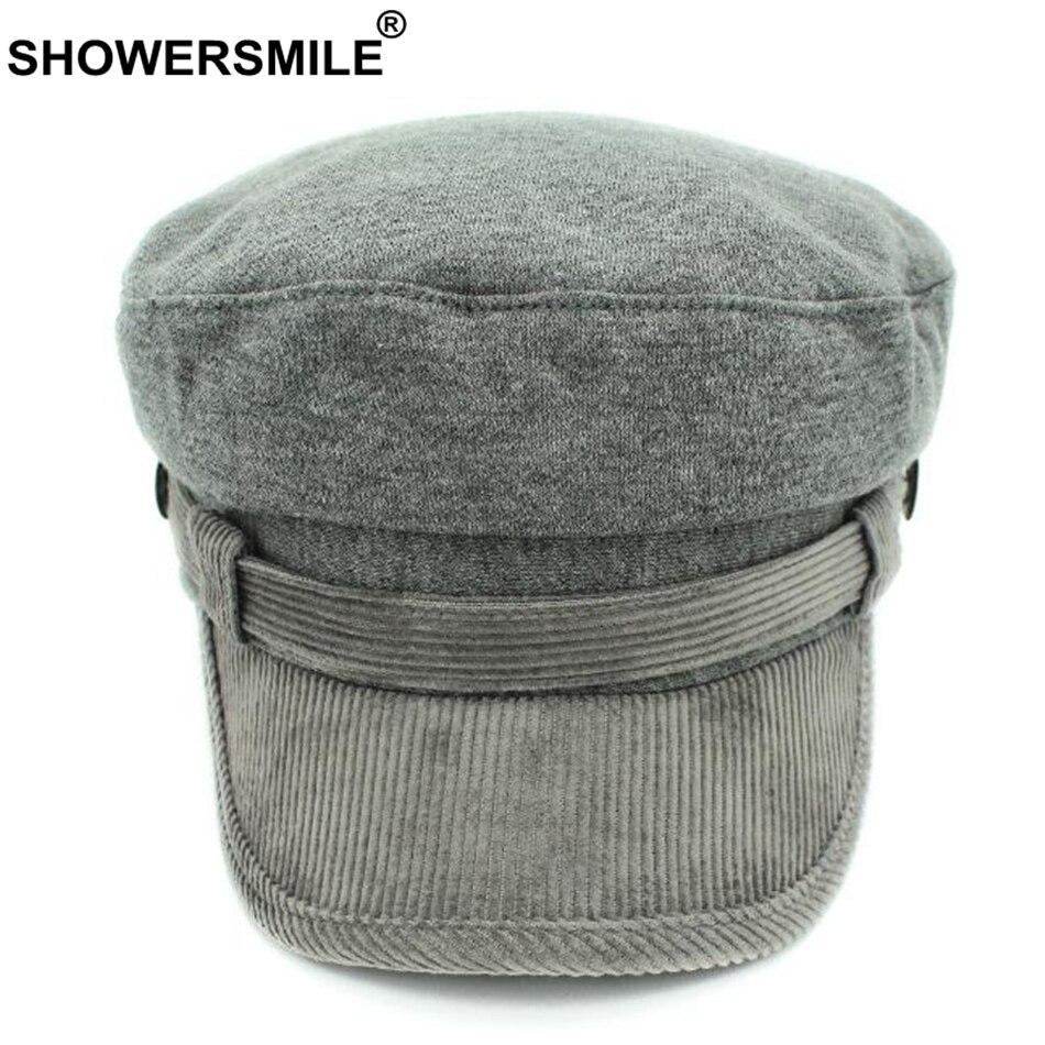 bfb4637fb99 SHOWERSMILE Grey Newsboy Cap Hat Women Cotton Vintage Flat Caps Men ...