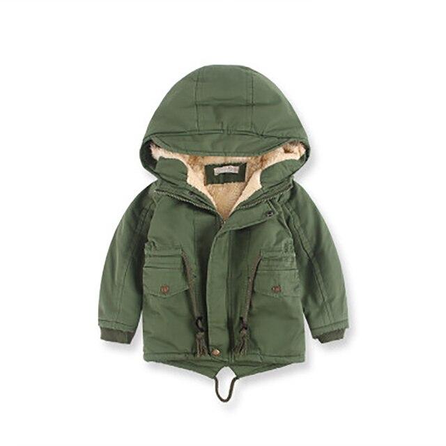 3-10Y Baby Boys Hooded Jacket Spring Winter Kids Coat Windbreaker for Boy Plus Thicken Fleece Velvet Outerwear Children Clothes