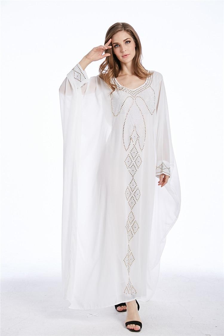 Detail Feedback Questions about Chiffon Beads Muslim Dress Long Kaftans for  Women Party Abaya Dubai Dress Fashion Turkish Robe Loose Summer Prom  Evening ... b3ae389d7922