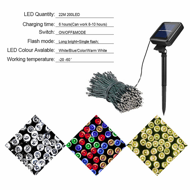 22m 200 LED Solar Lamp Outdoor Waterproof 8 Modes Garden Lights Solar Powered holiday Christmas Fairy String Light Street Lawn 2