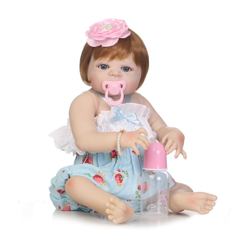 55cm Full Body Silicone Reborn Sweet Girl Baby Doll Toys Newborn Princess Toddler Babies Doll Birthday Gift Child Bathe Toy Play