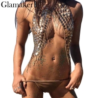 Glamaker Sexy Halter Shiny Tank Top Women Paillette Tassels Strap Crop Top Summer Crystal Backless Short