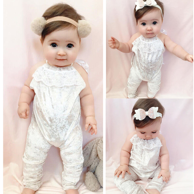 99acd443798b Girl white velvet romper baby girls sleeveless jumpsuit child playsuit long pant  rompers Girls children 2017 cute new style