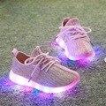 Crianças das crianças malha respirável letenis levou infantil acender esportes das meninas do menino da criança shoes escola tênis casual shoes