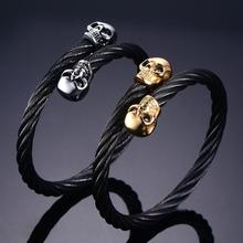 Granny Chic Punk Style Skull Bracelets For Men Stainless Steel Shiny Charm Link Chain Mens Gothic Jewelry