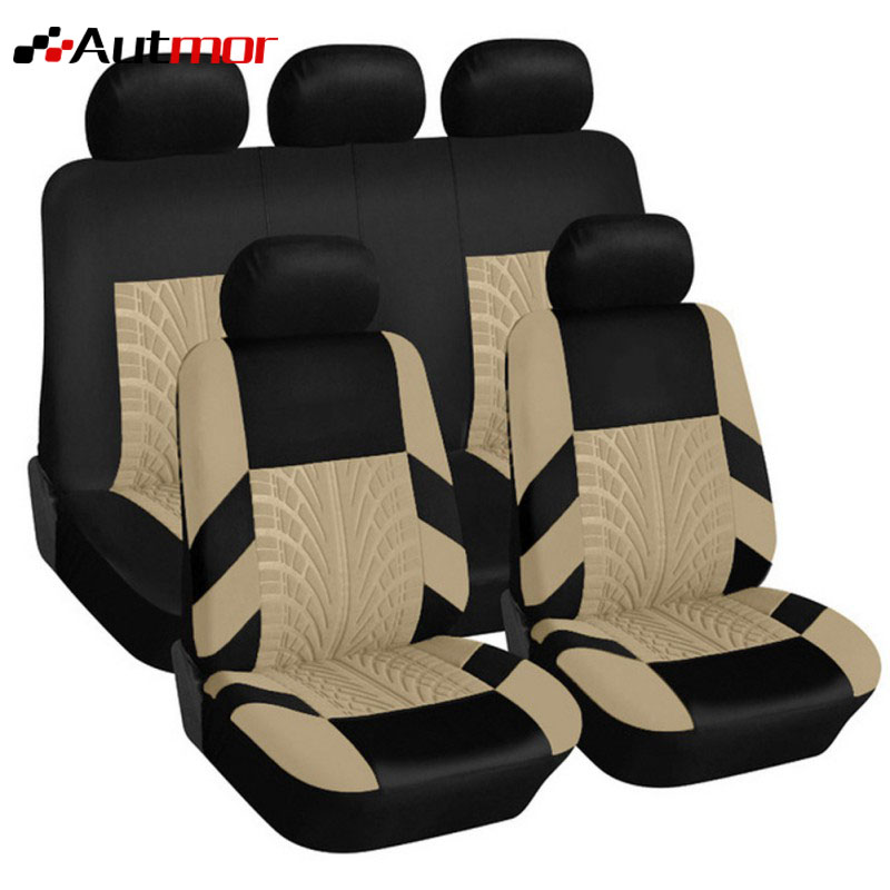 AUTMOR Brand Embroidery Car Seat Covers Set Universal Fit Most Cars Covers with Tire Track Detail Styling Car Seat ProtectorAUTMOR Brand Embroidery Car Seat Covers Set Universal Fit Most Cars Covers with Tire Track Detail Styling Car Seat Protector