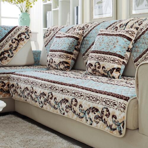 Fyjafon 1 Piece Thick Winter Warm Sofa Cover Armrest Slipcover Flannel Backrest Covering Sofa Towel Pillowcase