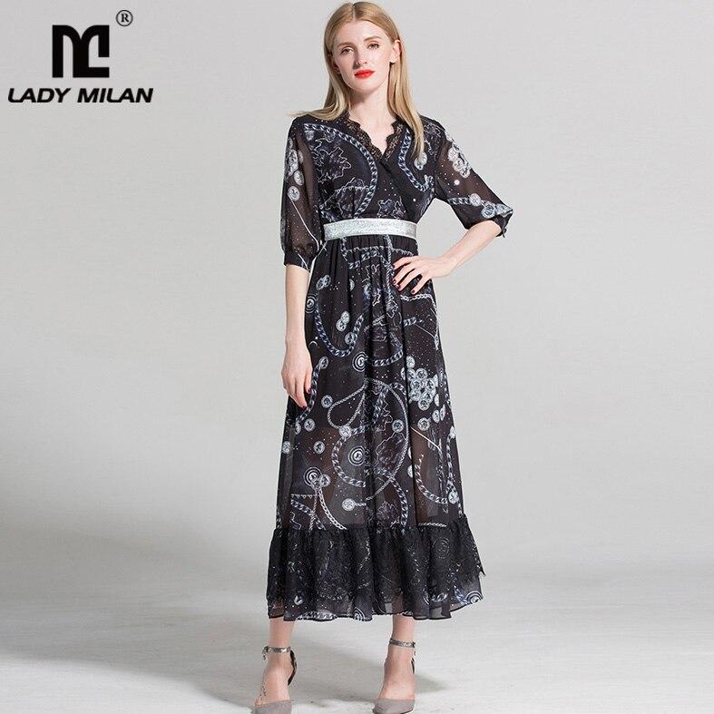 Lady Milan 2018 Womens Sexy V Neck Half Sleeves Printed Ruffles High Street Fashion Casual Holiday Dresses
