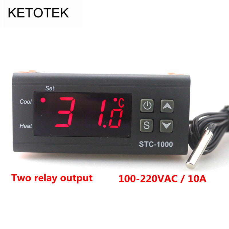 -50~99 Degrees 110~220V AC  STC-1000 LCD Digital Temperature Controller  Two Relay Output with 1 m Sensor digital stc 1000 220v all purpose temperature controller thermostat with sensor