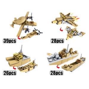 Image 5 - Huiqibao 544個16in1軍事戦車ビルディングブロックスーパー車両飛行機トラック車船軍レンガ教育玩具子供のため