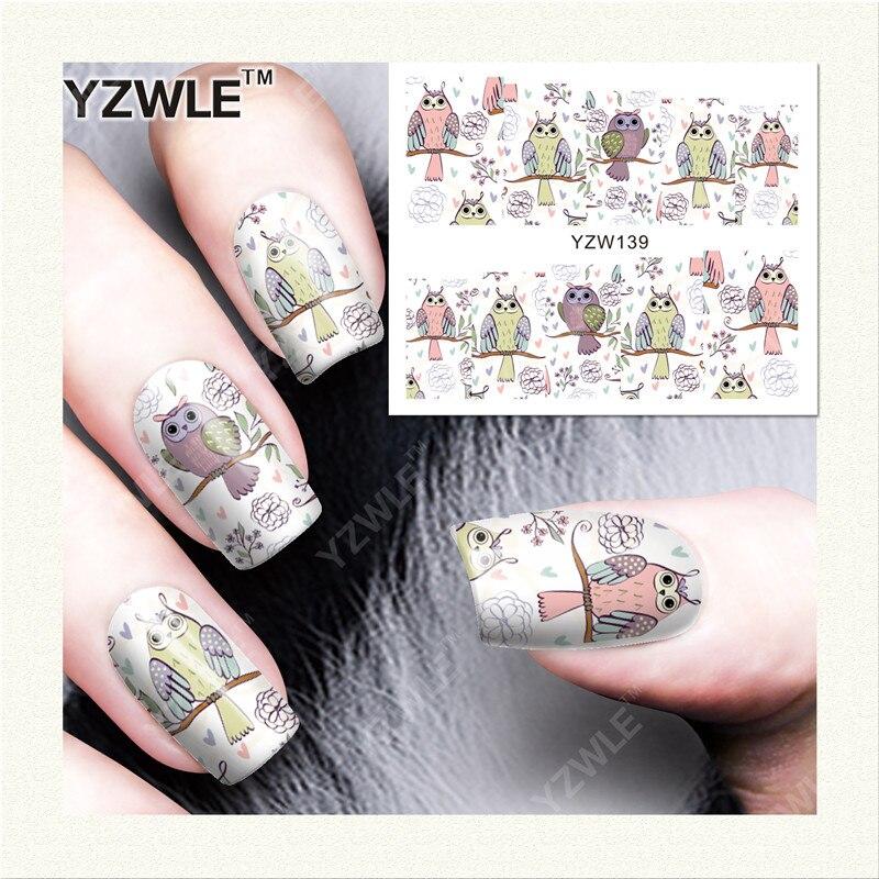 YZWLE 1 Sheet DIY Designer Nail Art Water Decals Transfer Stickers Cute Animal Owl Pattern Sticker xf187194 3d cute pattern decorative diy nail art sticker white black 2 pcs