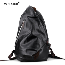 WEIXIER Casual Mens Brand Design PU High-End Backpack Long-Distance Multi-Function Large Capacity High Quality Classic