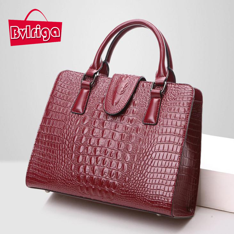 BVLRIGA Genuine leather bag ladies 2017 crocodile pattern Women messenger bags handbags women famous brand designer high quality