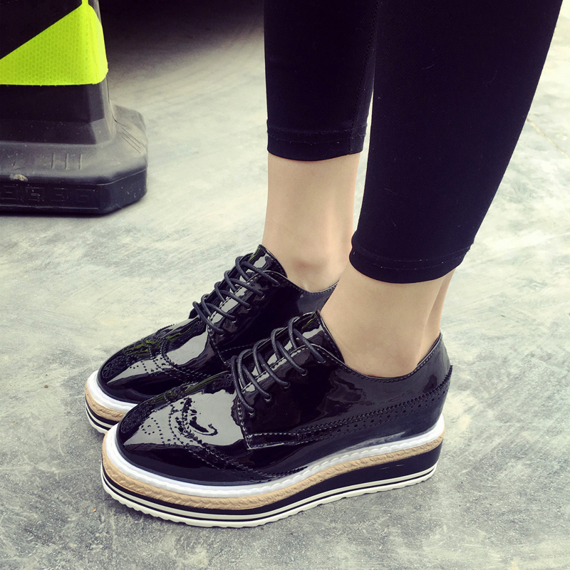 9a1cddd8e0b HEE GRAND Patent Leather Oxfords 2017 Platform Shoes Woman Creepers Autumn  Flats Casual Lace Up Women Brogue Shoes XWD3118-in Women s Flats from Shoes  on ...