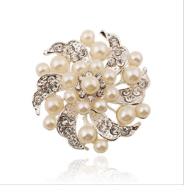 2 Inch Rhodium Silver Plated Cream Pearl Rhinestone Crystal Flower ...