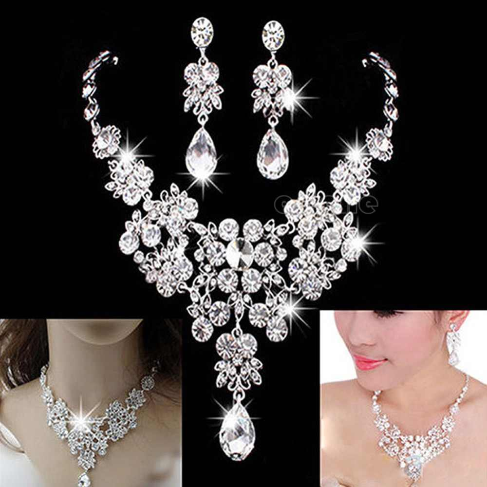 Hochzeit Braut Formal Party Prom Schmuck Kristall Strass Halskette Ohrring Set