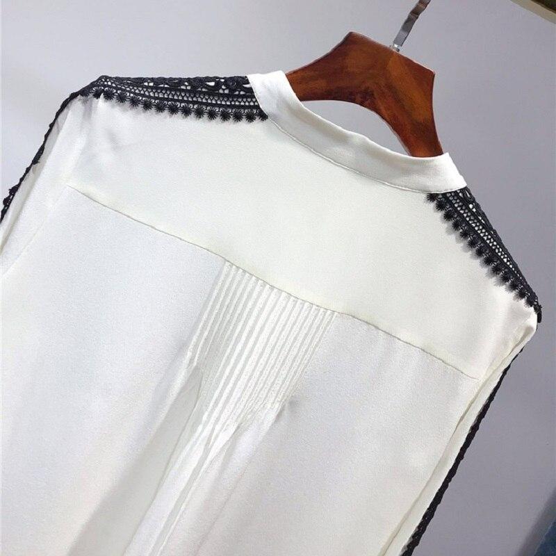 100% soie Blouse 2019 printemps été bureau chemises femmes noir dentelle Patchwork à manches longues élégant Blouse chemise femme hauts Blusas - 5