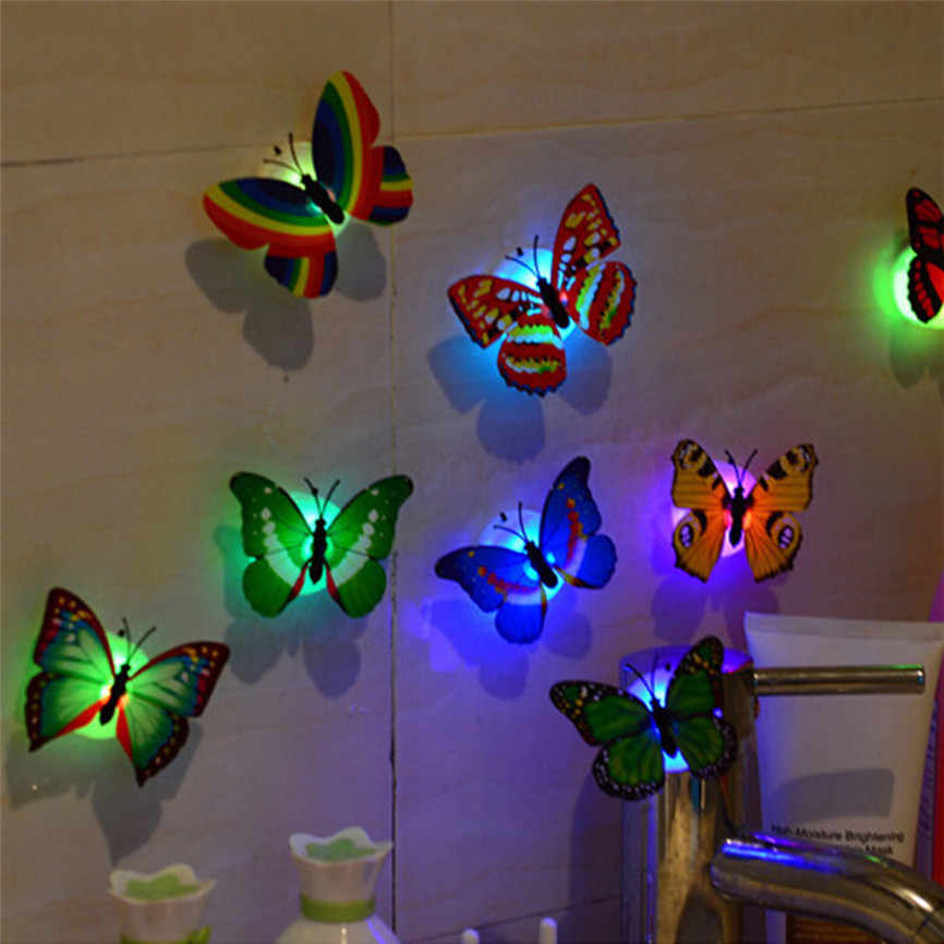 LED 3D Butterfly Wall Stickers Night Light Lamp Glowing Wall Decals Stickers House Decoration Home Party Desk Wall Decor Oct#3
