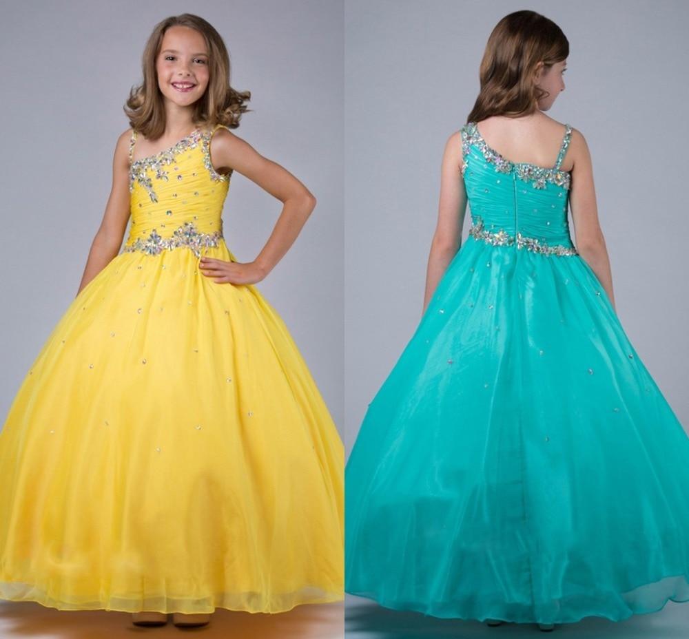 Yellow Long First Communion Dresses For Girl Beaded Chiffon ...