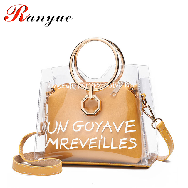 RANYUE Women Bag Pvc Transparent Handbag Totes Bags Vintage Handbags Travel 2018  Purses Tote Beach Summer Large Capacity Bag fe57c94f6614b