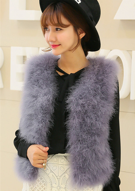 Vagary nueva moda Cuero no original chaleco mujeres calientes invierno  abrigo sin mangas sólido avestruz Plumas 0daf1eae28df
