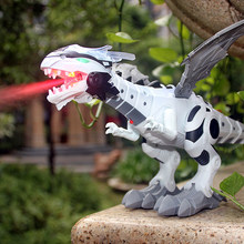 Large Spray Mechanical Dinosaurs With Wing Cartoon Electronic Walking Animal Model Dinosaurio juguete Robot Pterosaurs Kids Toys(China)
