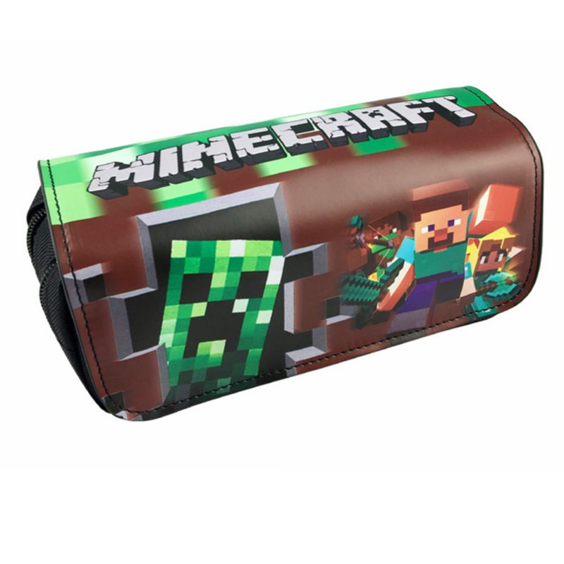 Minecraft Pencil Case School Stationery Anime Classic Game PU Fabric Double Super Big Pencil Bag Bts School Supplies Kids Gifts
