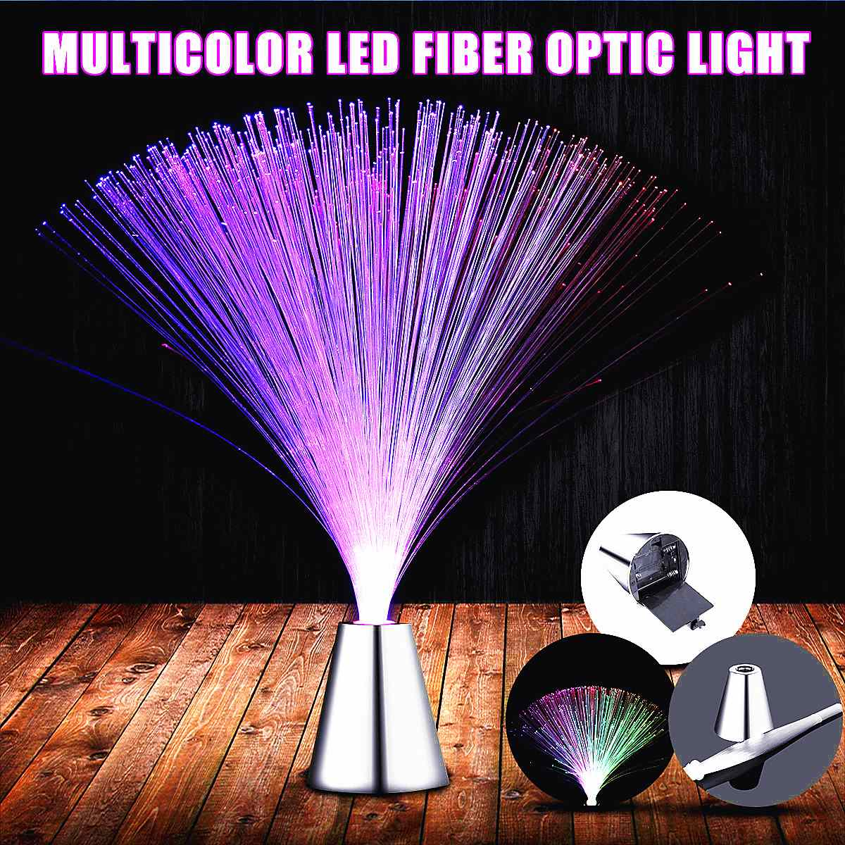 Claite Multicolor LED Optic Fiber Light Stand Night Light Lamp For Interior Decoration Centerpiece Children Holiday Wedding Gift 1pc rgbw multicolor led light base for vases rechargeable wedding party centerpiece light plate christmas under furniture lights