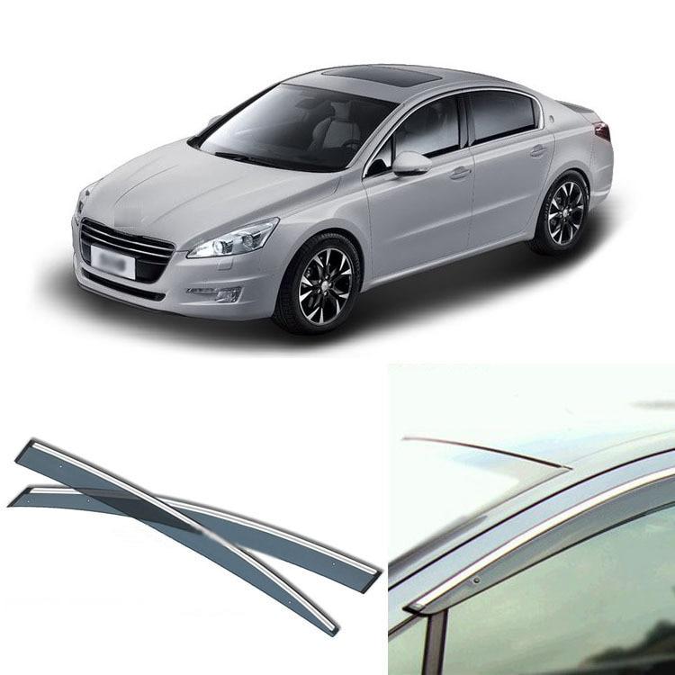 4pcs Blade Side Windows Deflectors Door Sun Visor Shield For Peugeot 508 2011-2013 4pcs set smoke sun rain visor vent window deflector shield guard shade for hyundai tucson 2016