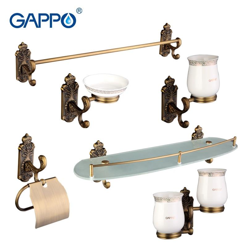 Gappo 6 Teil/satz Bad Zubehör Seifenschale Doppel Zahnbürste Halter Papier Halter Handtuch Bar Glas Regal Bad Hardware Setsg36t6 Bad Hardware