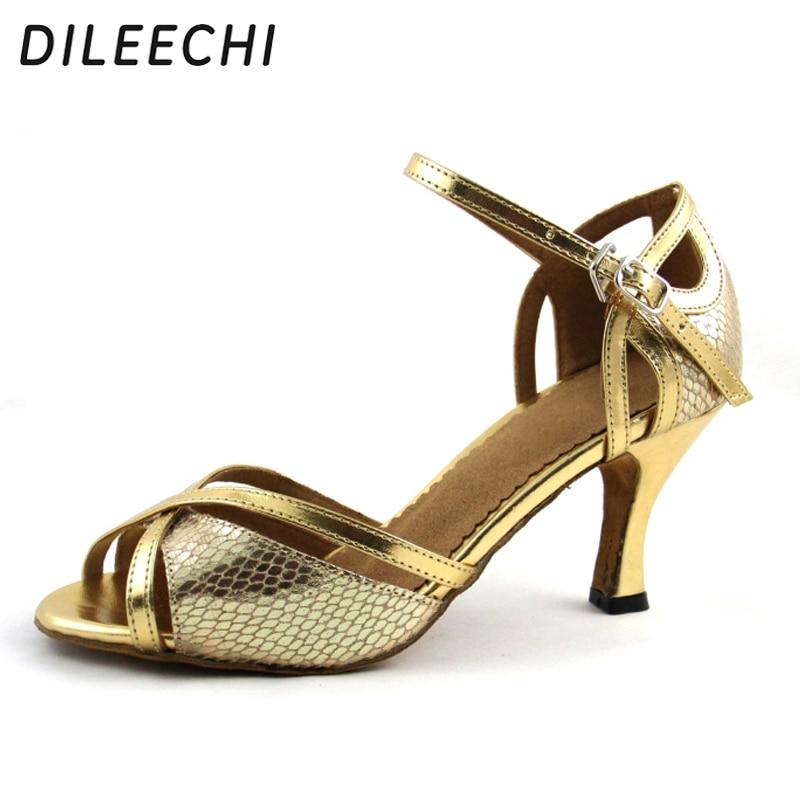 Dance shoes Women s High-heeled 9CM Ballroom dancing shoes Red Gold ... 7ef9fc384dea