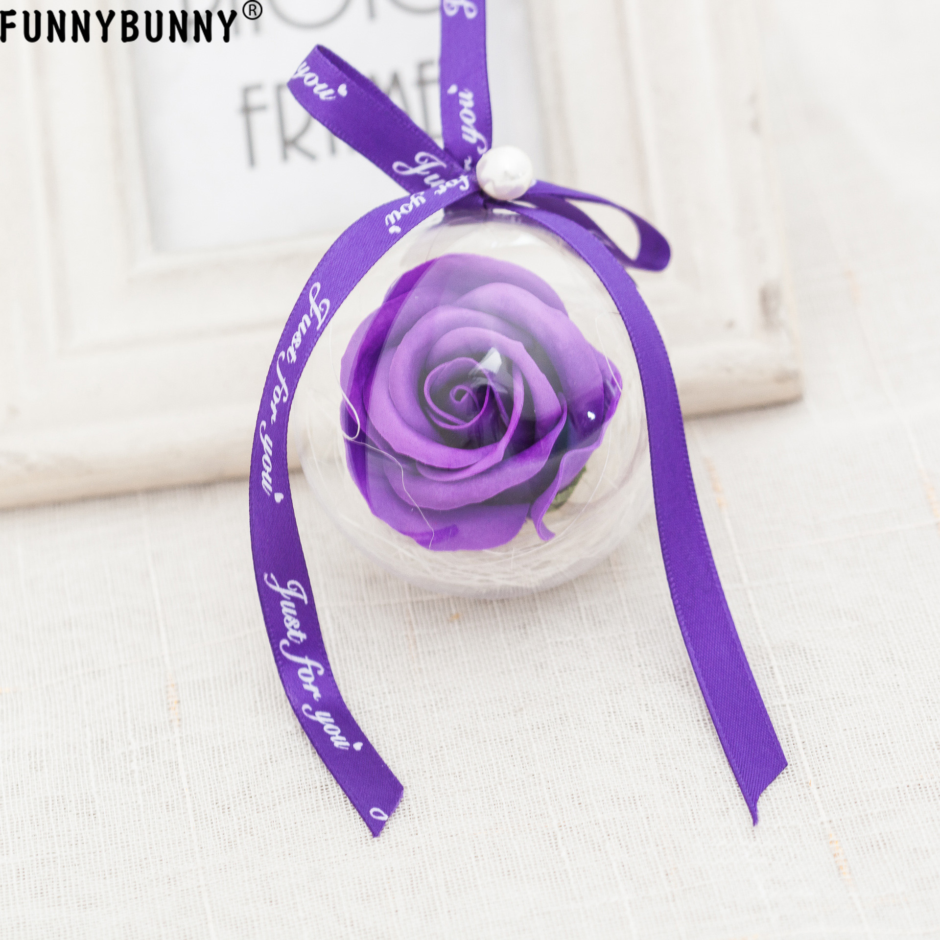FUNNYBUNNY Clear Ball Ornaments Plastic Christmas Tree Decorations Decorative Balls Rose in Ball Ornaments from Home Garden