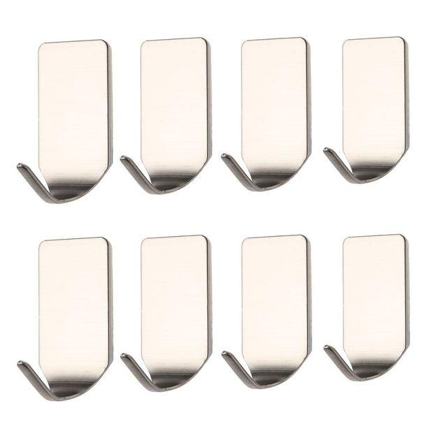 Moda nowy 8 sztuk łazienka ze stali nierdzewnej 3 M samoprzylepne lepkie haki ścienne do przechowywania wieszaki akcesoria do przechowywania w domu