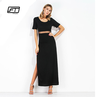 Fitaylor Women Black Summer Dress Maxi Long Pencil Work Dresses Casual Hollow Out Sexy Bodycon Retro