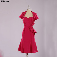 Rose Red Taffeta Sexy Mermiad Evening Dress Short Mother of the Bride Dresses with Jacket Evening Dresses with Crystals