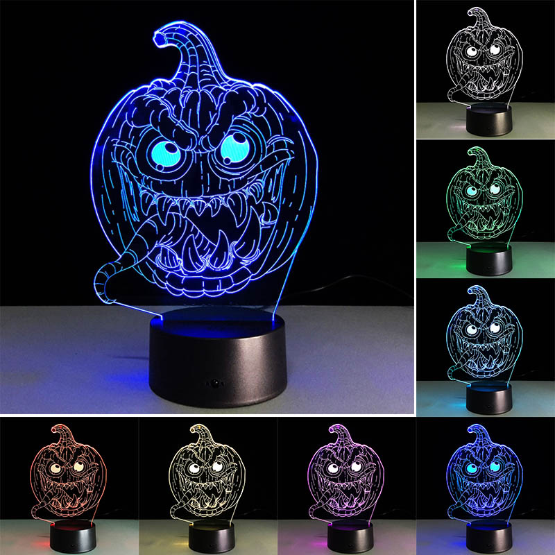 3D Pumpkin Light Acrylic USB Led Halloween Lamp Kids Boys Bedroom Hallowmas Decoration Gifts CLH@8
