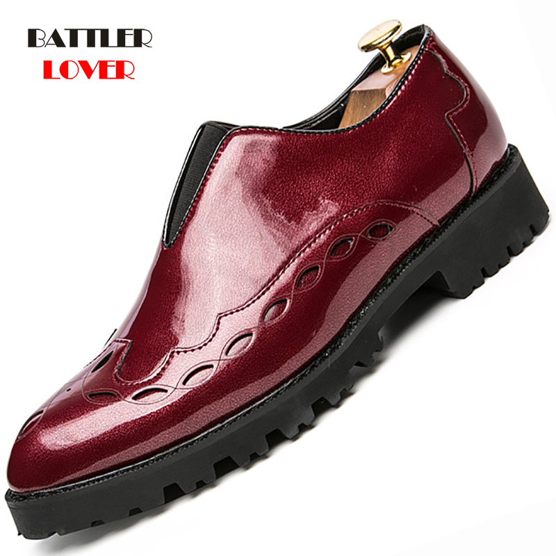 thick rubber brand mens dress shoes genuine leather High Quality Carved Brogue italian shoes men