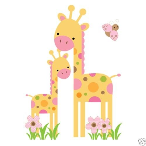 Mod Giraffe Wall Art Mural Decal Baby Girl Nursery Kids Room ...