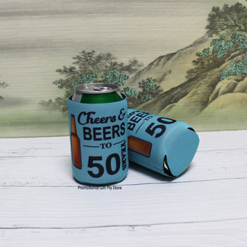 200pcs/lot  Collapsible Can Cooler Print Logo Folding Stubby Holder 3mm Thickness Neoprene Holders Beer Sleeve