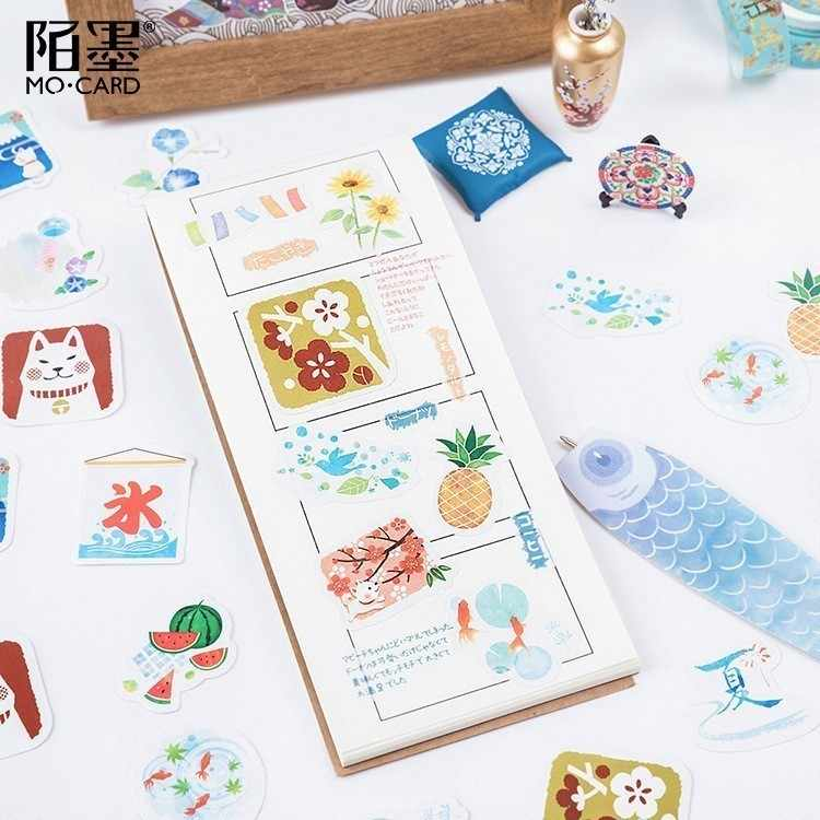 46 unids/caja estilo japonés papel veraniego etiquetas de sellado pegatinas artesanías Scrapbooking adhesivo decorativo de papelería DIY