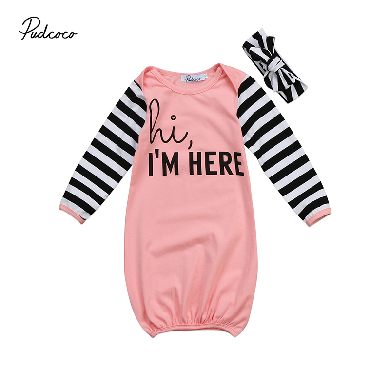 0-18m Newborn Infant Baby Boy Girl Long Sleeve Letter Print Cotton Sleeping Bag Sleepsack Headband 2pcs Sleepwear Clothes Sleepwear & Robes