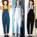 New Women Jumpsuit Denim Overalls 2017 Spring Autumn Strap Ripped Pockets Full Length Denim Jeans Jumpsuit E345