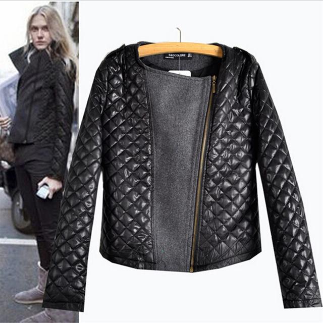 2016 nova chegada outono inverno europeu moda Quilting costura de lã casacos manga comprida Zipper venda quente