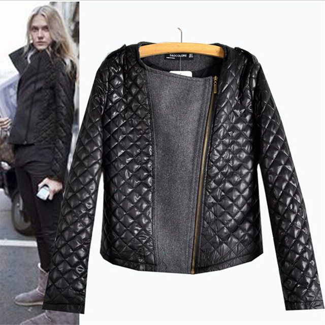 2017 New Arrival Autumn Winter European Style Fashion Quilting Stitching Woolen Coats Ladies Long Sleeve Zipper Hot Sale