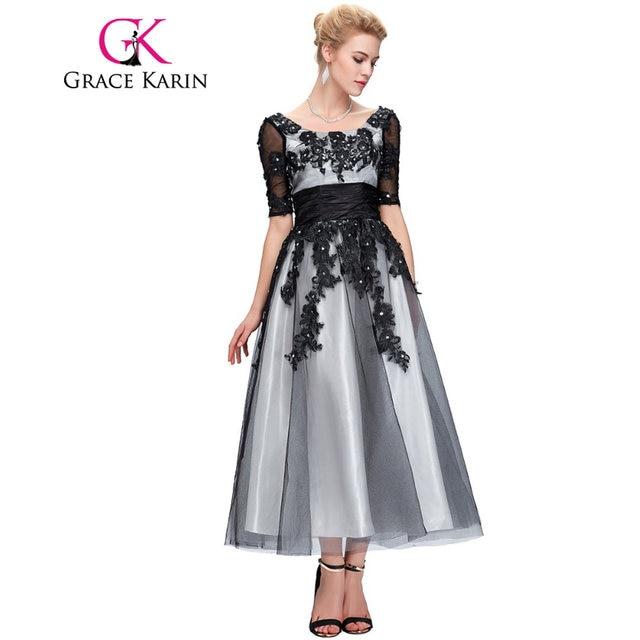 Online Shop Grace Karin Long Lace Evening Dresses 2018 Elegant Half ...