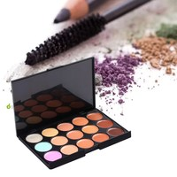 2017 New 1 Set 15 Color Professional Concealer Makeup Tool Set With 1 Pack Brush And Pro Foundation Soft Sponge Puff #