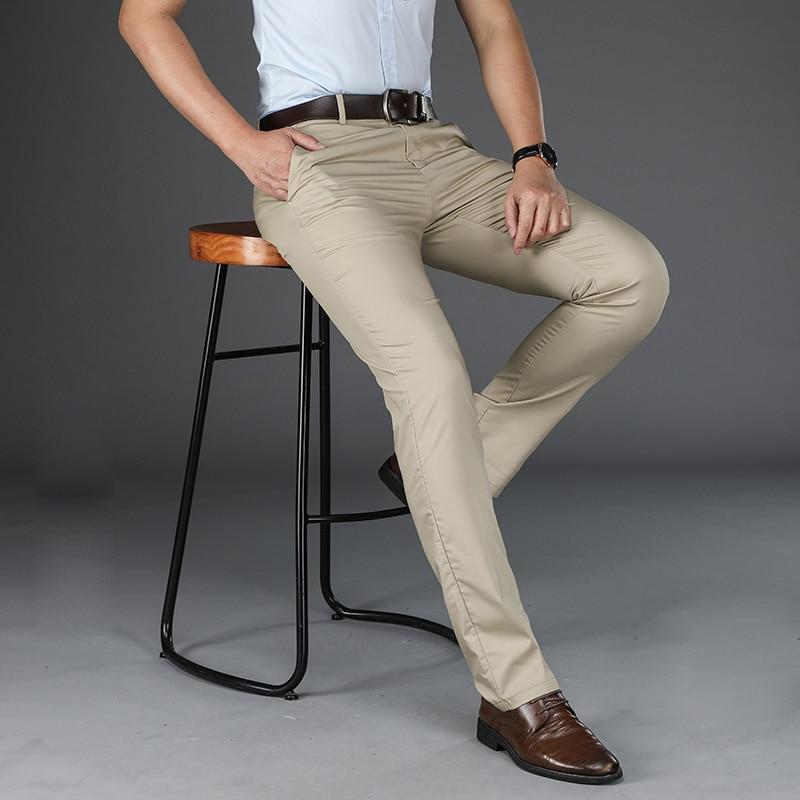 ICPANS Formal Suit Pants Men 2019 Summer Thin Dress Pants Business Office Trousers Black Khaki Big Size 40 42 Suit Trousers Male